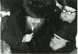 """With Harav Moshe Feinstein at the chasunah of, ybl""""c ,the current Liska Rebbe., Rav Moshe Feinstein"""